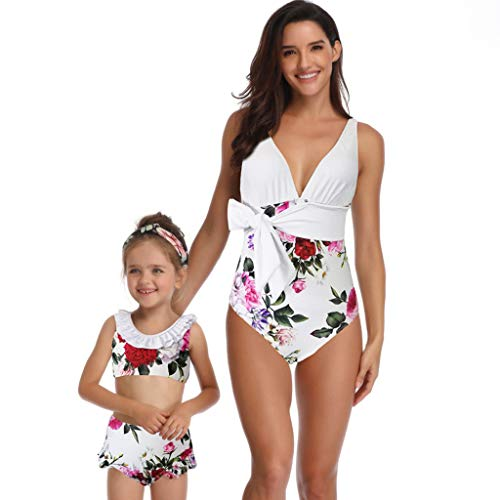 Gocheaper Fancy Mother and Daughter Swimwear Family Matching Swimsuit Girls Swimwear (L for mom, White) ()