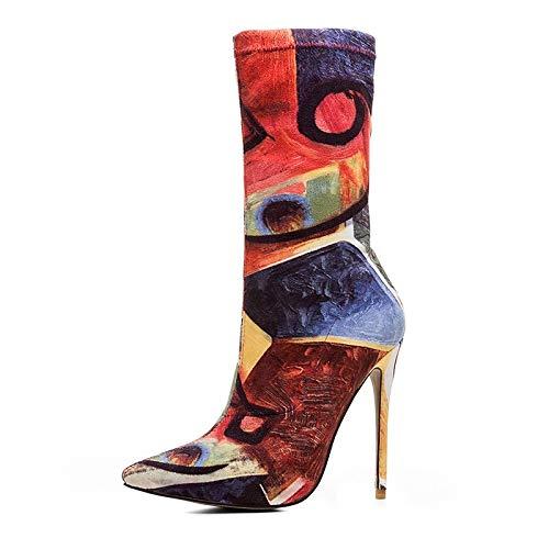 IWxez Damenmode Stiefel elastischer Stoff Herbst Herbst Stoff & Winter Vintage Stiefel Stöckel Absatz wies Toe Orange Hochzeit Party & Abend 33cc82