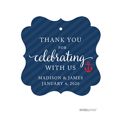 Andaz Press Nautical Baby Shower Collection, Personalized Fancy Frame Gift Tags, Thank You for Celebrating with Us, 24-pack, Custom Made Name for Themed Party Favors, Gifts, Decorations by Andaz Press (Image #1)