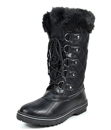 ARCTIV8 GLACIER Women's Winter Cold Weather Mid High Faux Fur Snow Boots Black Size 8 Image