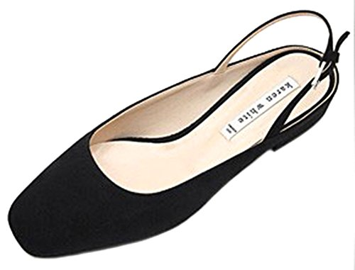KAREN WHITE Womens Slingback Mary Jane Flats Pointed Toe Suede Shoes, Availble In Black and Green Black