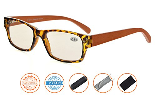 UV Protection,Anti Blue Rays,Reduce Eyestrain,Wood Arms,Computer Reading Glasses(Tortoiseshell,Amber Tinted Lenses) without - Glasses Reading Without Arms
