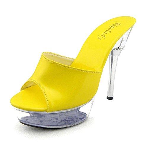 De Chaussons Plateforme Talons Sandales yc Fête Traînée Simple Été Yellow L Mariage Femmes Glace 14cm Et Hauts 6qwgnB