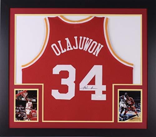 Hakeem Olajuwon Houston Rockets Autographed Signed 32X36 Custom Framed Jersey ~ JSA Coa