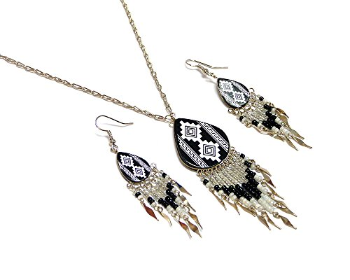 Mia Jewel Shop Large Tribal Ceramic Teardrop Long Beaded Dangle Silver Chain Necklace and Earrings Jewelry Set (White/Black)
