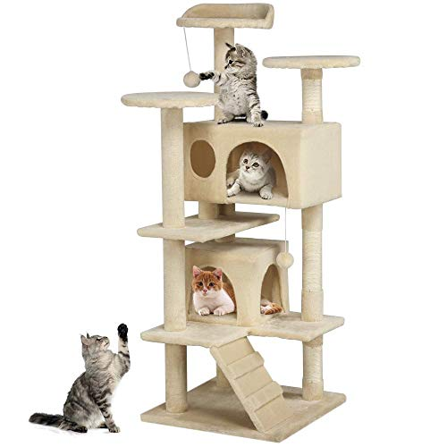 136 cm Petonaut Multi-Level Cat Tree Tower Condo Sisal-Covered Cat House Scratching Post Kittens Pet House Play Tower Activity Centre