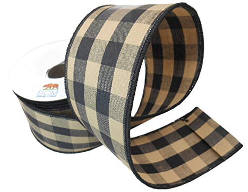 Black Buffalo Check Country Ribbon - Tea Stained Black 100% Cotton and Wired Edge Ribbon 2 1/2