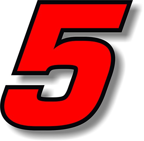 Vinyl sticker/decal Red (Black outline), square font, race number 5 (Height: 6 inches)