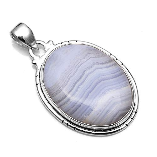 Silver Palace 925 Sterling Silver Natural Blue Lace Agate Pendants for Women and Girls