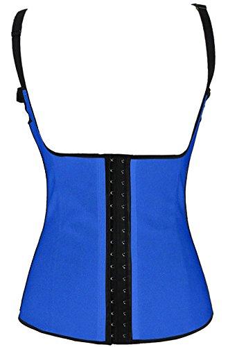 Pandolah Women Sport Straps Latex Steel Boned Corset Vest Bodysuits (2XL, Blue-2)