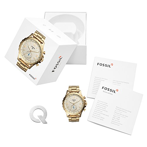 41kxH YCdxL - Fossil Q Men's Nate Stainless Steel Hybrid Smartwatch, Color: Gold-Tone (Model: FTW1142)