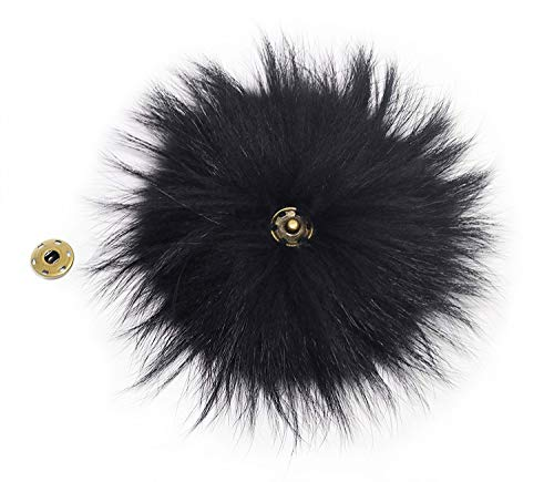 """5"""" Real Raccoon Fur Pom Pom with Button for Knitted, used for sale  Delivered anywhere in USA"""