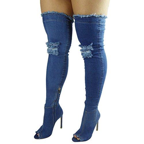 Stivali Spillo al Jeans numero Denim aperta sopra Medio ginocchio 3 donna aderenti punta tacco a 8 alti qvtPPg
