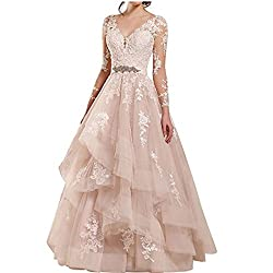 Chady Women S Long Sleeves V Nceck Lace Wedding Dresses 2018 For Bride Ball Gown Wedding Dresses Bridal Gowns Ivory