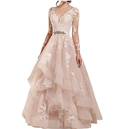 Chady Women's Long Sleeves V-Nceck Lace Wedding Dresses 2017 for Bride Ball Gown Wedding dresses