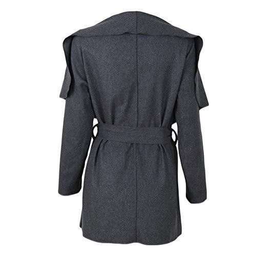 Mujer Slim Fit Con Retro De Larga Outwear Manga Exteriores Solapa Gabardina Primavera Informales Prendas Cinturón Grau Abrigos Unicolor Otoño Chaquetas dqvwYnd