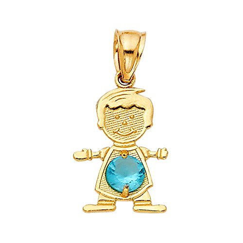TGDJ 14K Real Yellow Gold Birthstone Charm Boy Pendant (12. December)