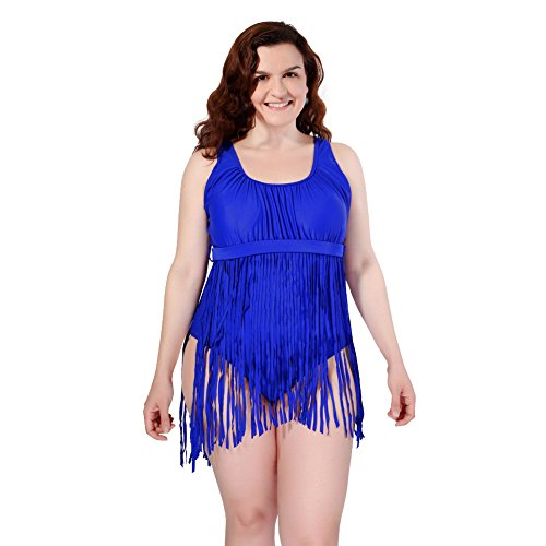 Foclassy Women Sexy One Piece Fashion Tassel Solid Color Slim Underwire Push up Swimsuit 2x Blue