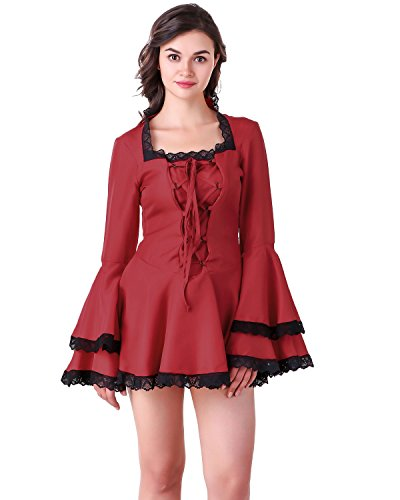 ThePirateDressing Women's Gothic Victorian Steampunk Vampire Cosplay Costume Bell Sleeves Short Sexy Dress (FireBrick-Red) (Small) ()