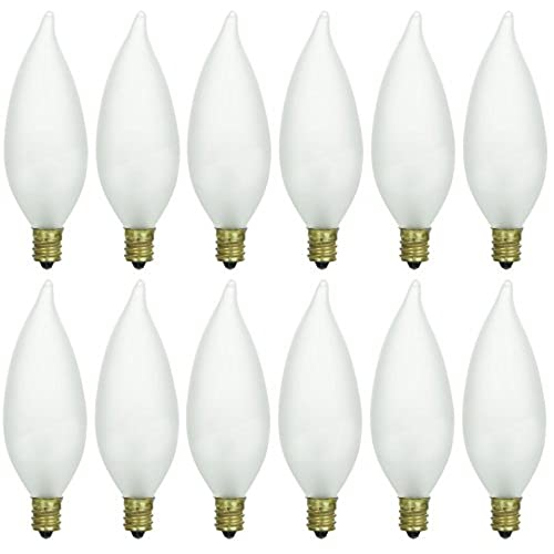 Frosted chandelier light bulbs amazon pack of 12 25 watt cff candelabra base frosted flame tip shaped incandescent chandelier light bulb aloadofball Image collections