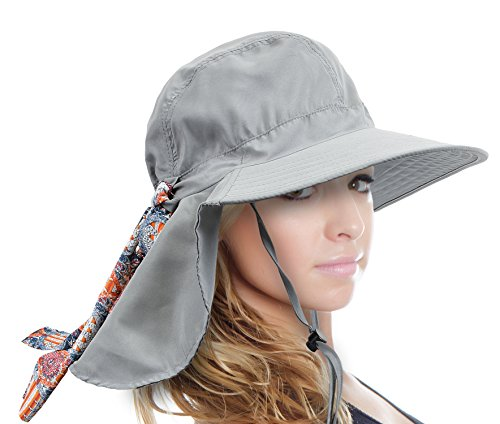 Sun Blocker Large Brim Sun Hat for Women UPF50 Foldable Safari Beach Fishing Cap Grey