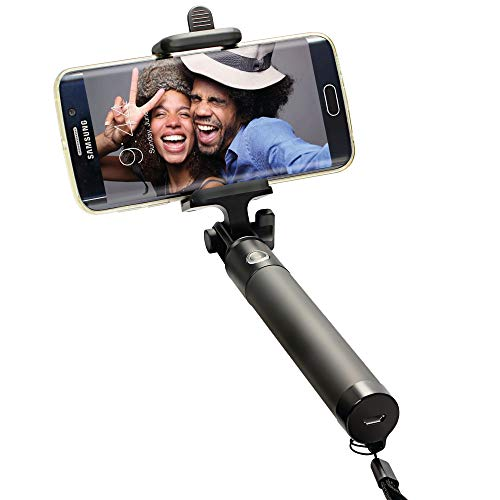 Selfie Stick Bluetooth, Portable Selfie Stick Monopod with Built-in Remote Shutter Works for iPhone XS/XR/8/8P/7/7P/6S/6P/5S Android Smartphones ANERGER