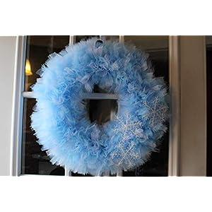 Extra Full Winter Snow Tulle Wreath 80