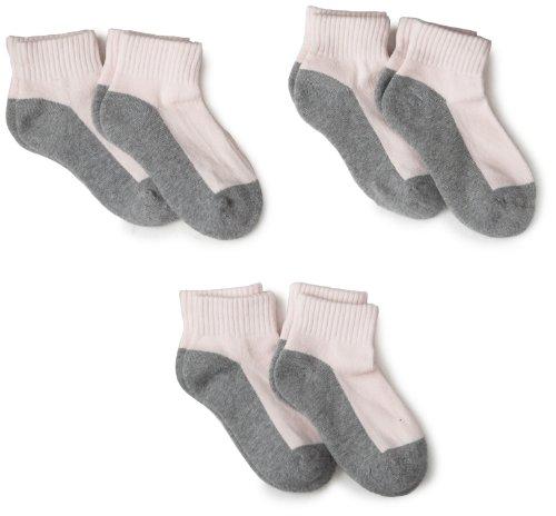 Jefferies Socks Little Girls'  Sport Quarter Half Cushion  Socks (Pack of 6)