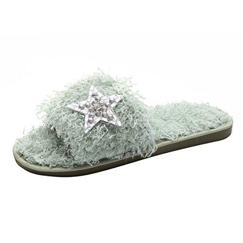 Kjære Tiden Kvinner Plysj Lysbilde Tøffel Rhinestone Faux Fuzzy Pels Slip På Flate Sandaler Grønne