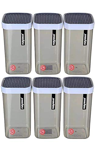 Nayasa Superplast Plastic Fusion Containers 2100ml, Set of 6, Grey by Krishna Enterprises Price & Reviews