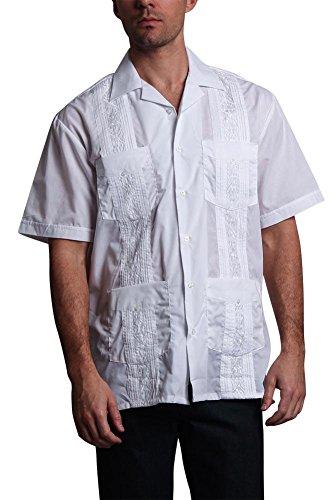 Men's Guayabera Premium Lightweight Embroidered Pleated Cuban Shirt - Omega - White - ()