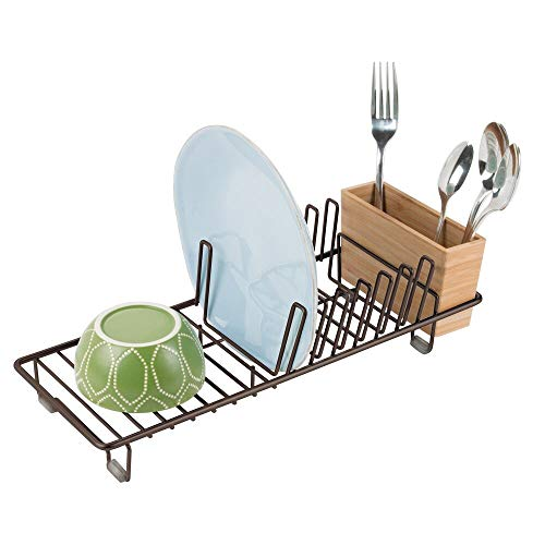 (mDesign Compact Modern Kitchen Countertop, Sink Dish Drying Rack, Removable Cutlery Tray - Drain and Dry Wine Glasses, Bowls and Dishes - Metal Wire Drainer in Bronze with Natural Bamboo Caddy)