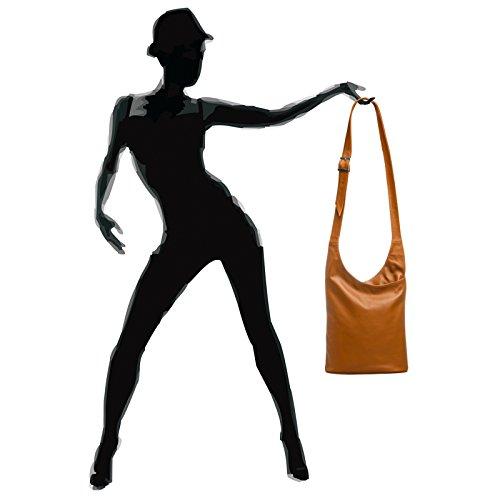CASPAR Fashion - Bolso cruzados para mujer coñac
