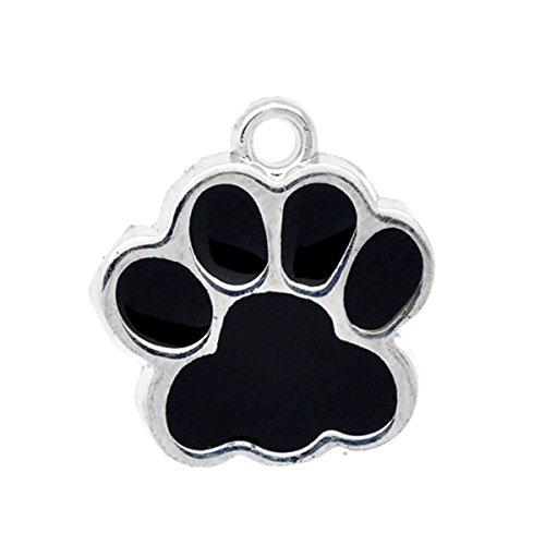 Silver Tone Metal Enamel - Housweety 10PCs Silver Tone Black Enamel Dog Paw Pendants 18x17mm