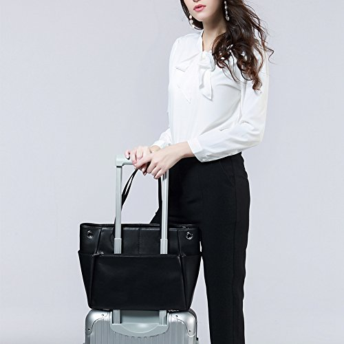 Black Inch With Closure Luggage Sleeve Functional Durable Fashion Synthetic 13 Trolley Compartment Women`s Laptop Augsopa black Large Tote Bag Roomy Zipper Business 13 Carryall Pu Leather 5 ZBOFFq