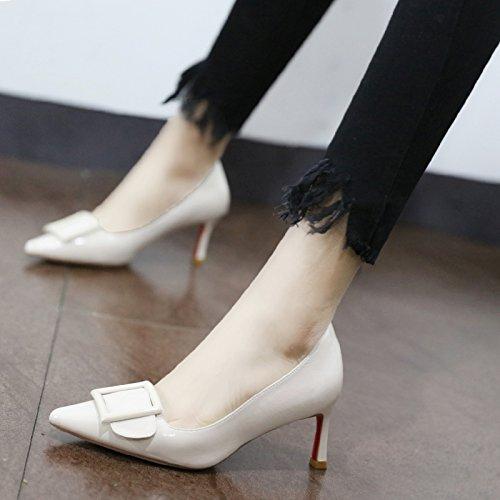 Xue Qiqi Pumps Farbe wilde Frauen Schuhe Schuhe Schuhe zu binden bemalte Leder Einzel Schuhe Frauen Schuhe mit hohen Absätzen fein mit, 34, Beige - 0318f9