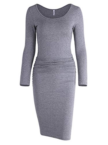 Missufe Women's Ruched Casual Knee Length Bodycon Sundress Basic Fitted Dress