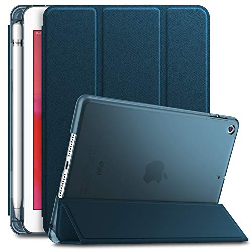 INFILAND iPad Mini 5 2019 Case with Apple Pencil Holder, Ultra Slim Lightweight Stand Case with Translucent Frosted Back Smart Cover for Apple iPad Mini 5th Gen 7.9-inch 2019 Release, Navy