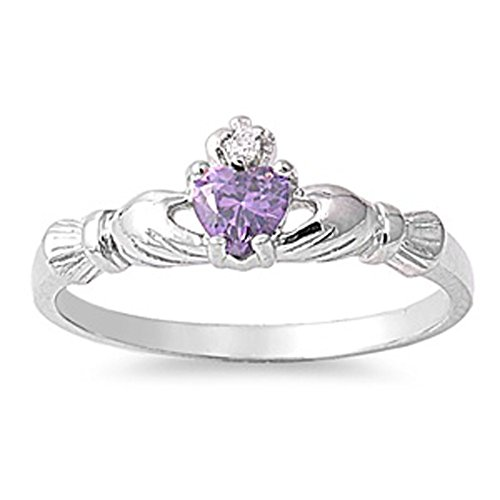 Sterling Silver Claddagh Ring Simulated Amethyst Traditional Irish Knot Band Size 8