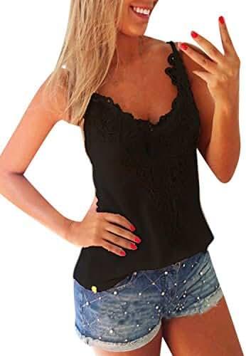ZANZEA Women's Sexy Sleeveless Lace Crochet Tank Tops T Shirt Blouse Camis Vest
