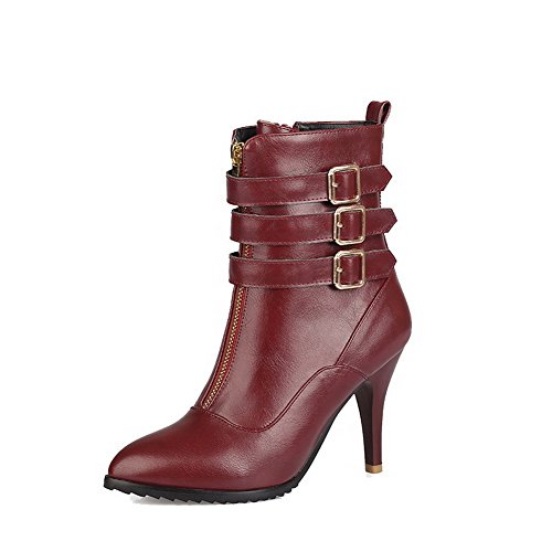 High Heels Pointed Claret Toe Low Allhqfashion top Closed Women's Boots PU Zipper XnPq1A
