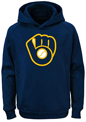 Outerstuff MLB Kids 4-7 Team Color Polyester Performance Primary Logo Pullover Sweatshirt Hoodie (7, Milwaukee Brewers) - Fleece Milwaukee Brewers Pullover