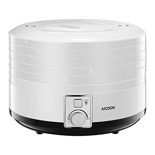 - AICOOK Food Dehydrator, 5-Tray Food Dehydrator Machine with Temperature Settings for Jerky, Meat, Fruit, Vegetable & Herb, 500Watt, BPA-Free, ETL & FDA Certified