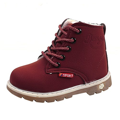 PENGYGY Baby Shoes, Baby Children Warm Boys Girls Martin Sneaker Snow Boots Kids Baby Casual Shoes (Girl Infant Raisin)