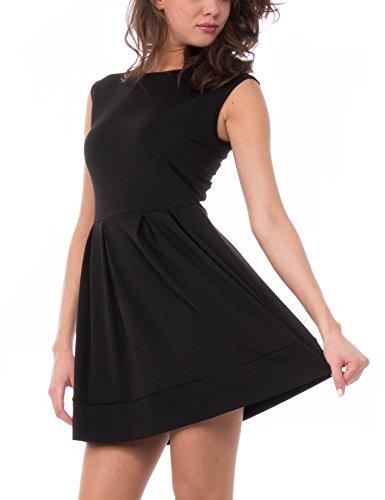 Les Sophistiquees Abito Smanicato con Gonna a Pieghe, Vestido para Mujer, Negro, L