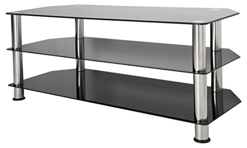 (AVF SDC1140-A TV Stand for Up to 55-Inch TVs, Black Glass, Chrome Legs )