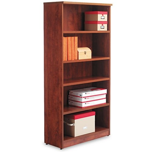 Alera Valencia Series Bookcase/Storage Cabinet, 5 Shelves, 32 W by 14 1/2 D by 66 H, Medium Cherry