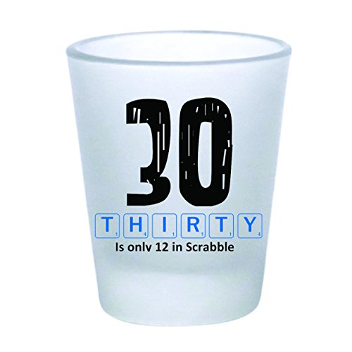 Shot Glass - 30th Birthday Scrabble - Frosted (2oz)