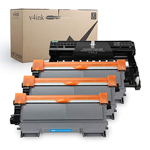 v4ink Compatible Toner Cartridge and Drum Unit Replacement for Brother TN450 TN420 DR420 High Yield use with HL-2240d HL-2270dw HL-2280dw MFC-7240 MFC-7360n MFC-7860dw Printer 4 Pack (1 Drum+3 Toner)