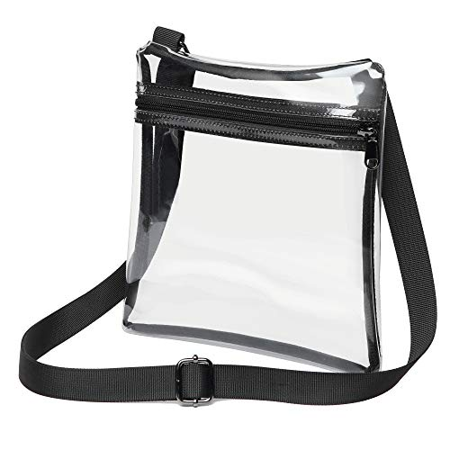 Clear Crossbody Purse Bag NFL Stadium Approved Clear Bag for Women and Man with Adjustable Strap for Work, School, Sports Games, Concerts